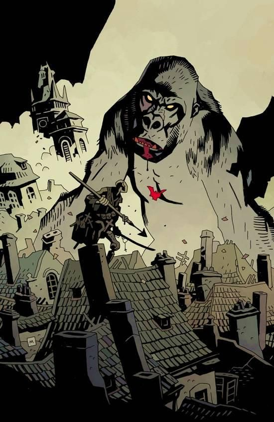 King Kong vs Hellboy by Mike Mignola//Mike Mignola/M/ Comic Art Community GALLERY OF COMIC ART