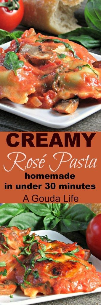 Creamy Rose Pasta with mushrooms ~ a one pan recipe, ready in under 30 minutes. Ideal for weeknights OR entertaining.