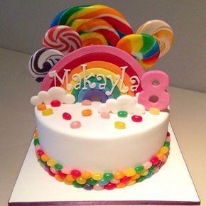 Makayla's rainbow lollipop cake for her 8th birthday (May 2015) #girlycake…