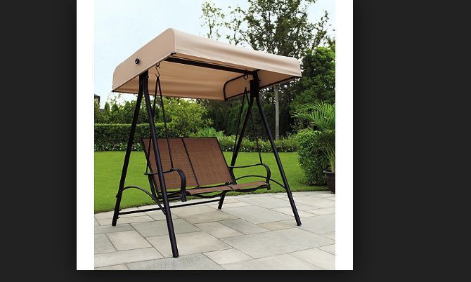 Patio Furniture Swing Set Canopy Bench Black Backyard