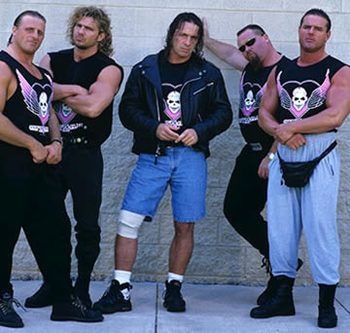 1997 Version of the Hart Foundation; Owen Hart, Brian Pillman, Bret Hart, Jim Neidhart, Davey Boy Smith