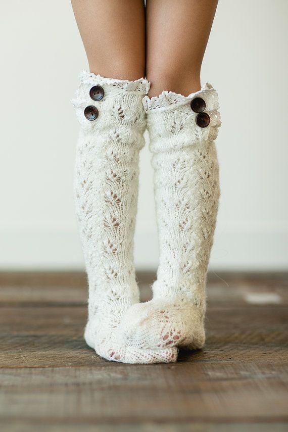 knitted boot socks, children's, little girls lace trim knitted socks in ivory (FW40)