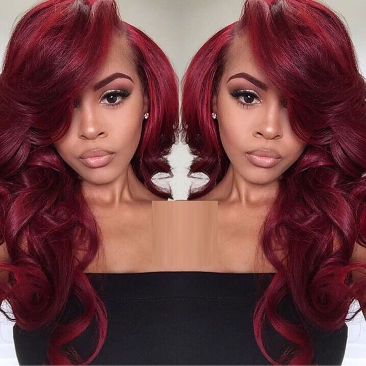 Wine Red With Bright Red Highlights Synthetic Lace Front Wig Body Wave Glueless Heat Resistant Fiber Glueless Lace Wig