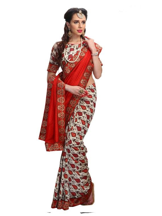Dazzling White and Red Designer Fashion saree