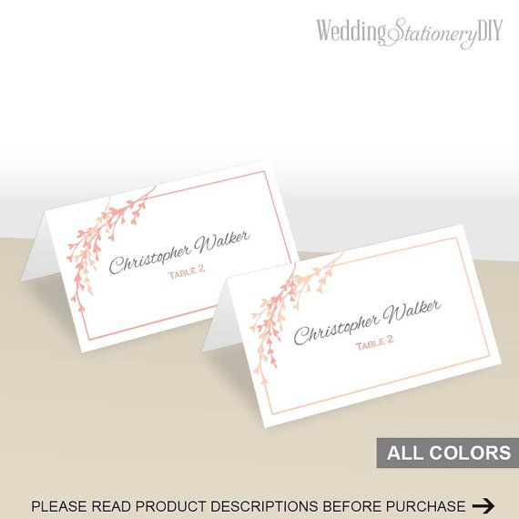 Coral peach wedding placecards printable by WeddingstationeryDIY