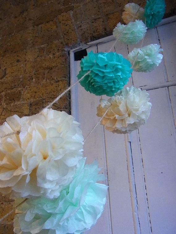 pom poms: Outdoor Wedding, Pom Poms, Pom Pom Garlands, Tissue Pom Pom, Bridal Shower, Hair Wreaths, Flower Girls, 18 Pom, Mint Pistachios Cream