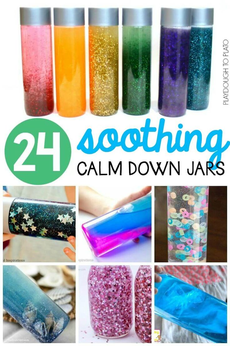 24 Soothing Calm Down Jars for kids of all ages. Great classroom management hack when kids need to handle big emotions.