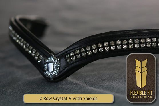 BBbl022 - 2 Row Crystal V browband with Shields - black | Flexible Fit Equestrian