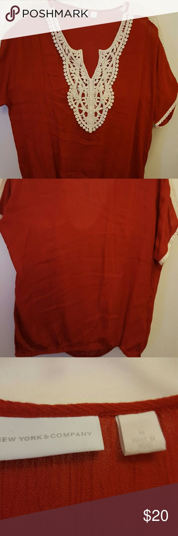 New York & Co red shirt Short sleeve Red with beige lace never worn New York & Company Tops Tees - Short Sleeve