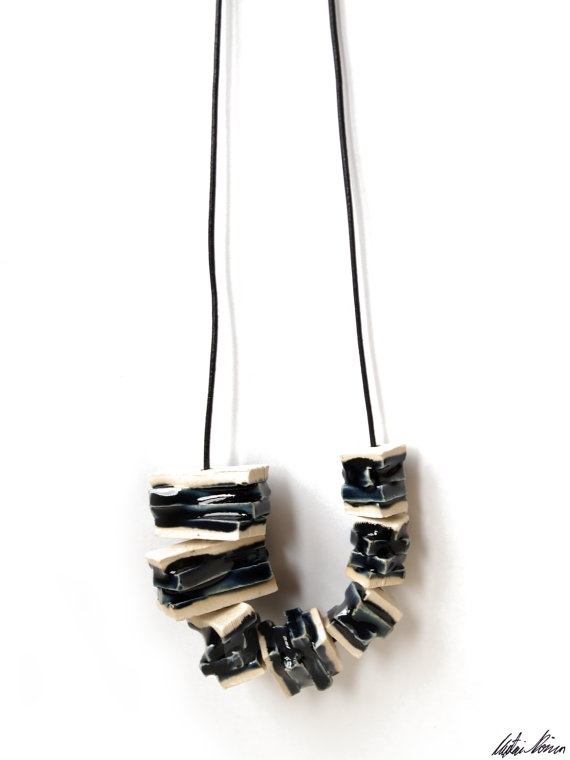Handmade Rectangular Ceramic Blue Bead Necklace by TaupeKlein, $20.00
