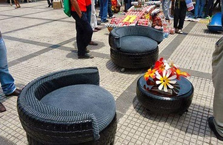 Reciclando neum ticos reciclaje recycled pinterest for How to make tire furniture