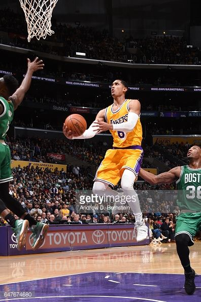 News Photo : Jordan Clarkson of the Los Angeles Lakers goes up...