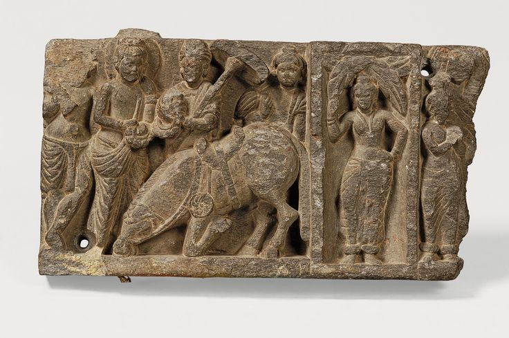 Siddhartha saying farewell to his horse Kanthaka Sikri, Khyber Pakhtunkhwa province. 3rd century CE. Schist. H. 6 5/16 x W. 11 7/16 x D. 1 3/4 in. (16 x 29 x 4.5 cm) Lahore Museum, G-1032