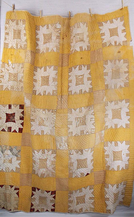 antique autumn colored patchwork quilt
