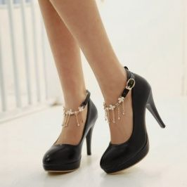 Cheapest Pumps Plus Size Newly Sweetly Flower Chain Hasp Pumps Black