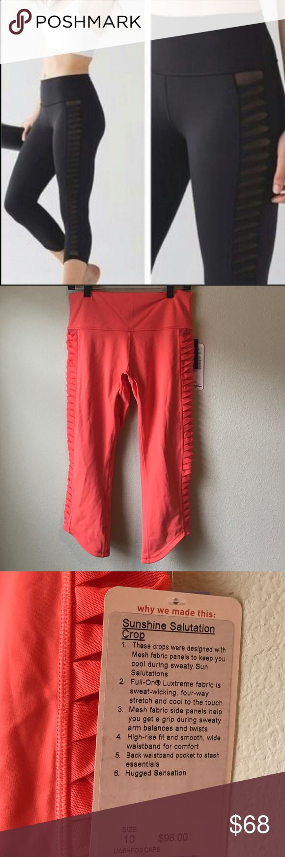 NWT LULULEMON SUNSHINE SALUTATION CROP -- Size 10 Brand: Lululemon Athletica sunshine Salutation crop | Cape Red NOT black | black is stock photo only  Condition: New with tag || Size 10   🚩NO TRADES  🚩NO LOWBALL OFFERS  🚩NO RUDE COMMENTS  🚩NO MODELING  ☀️Please don't discuss prices in the comment box. Make a reasonable offer and I'll either counter, accept or decline.   I will try to respond to all inquiries in a timely manner. Please check out the rest of my closet, I have various…