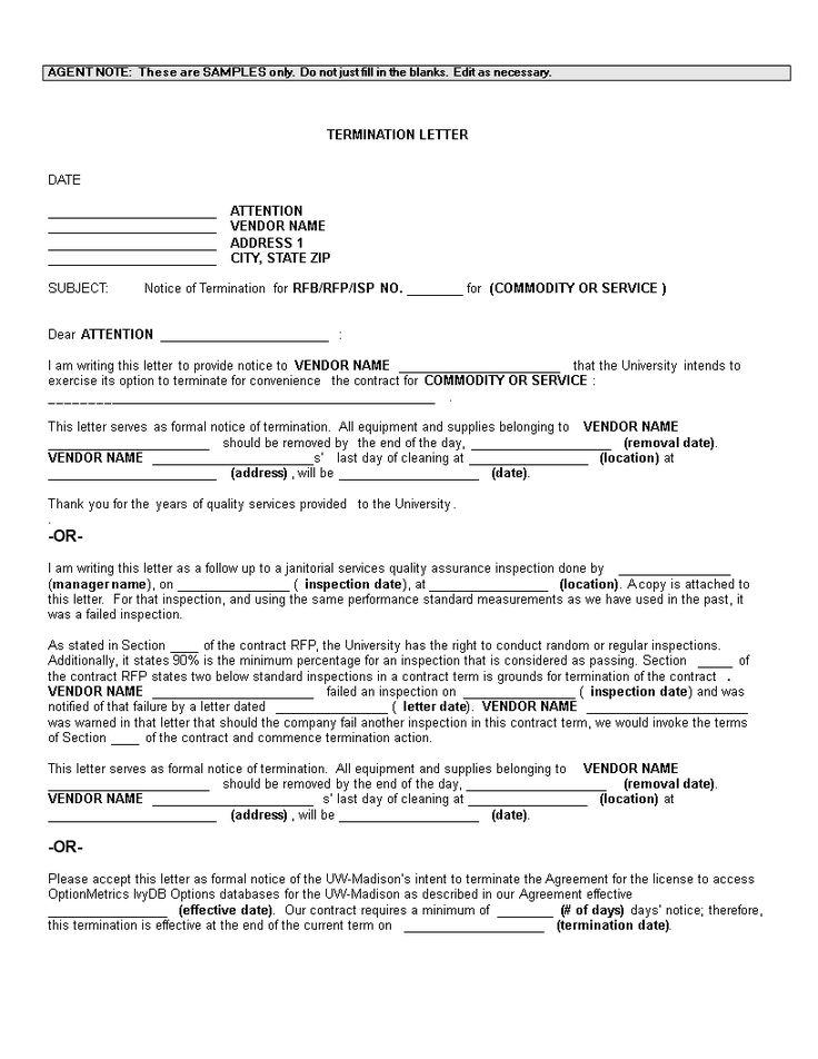 Vendor Termination Letter How to make a Vendor