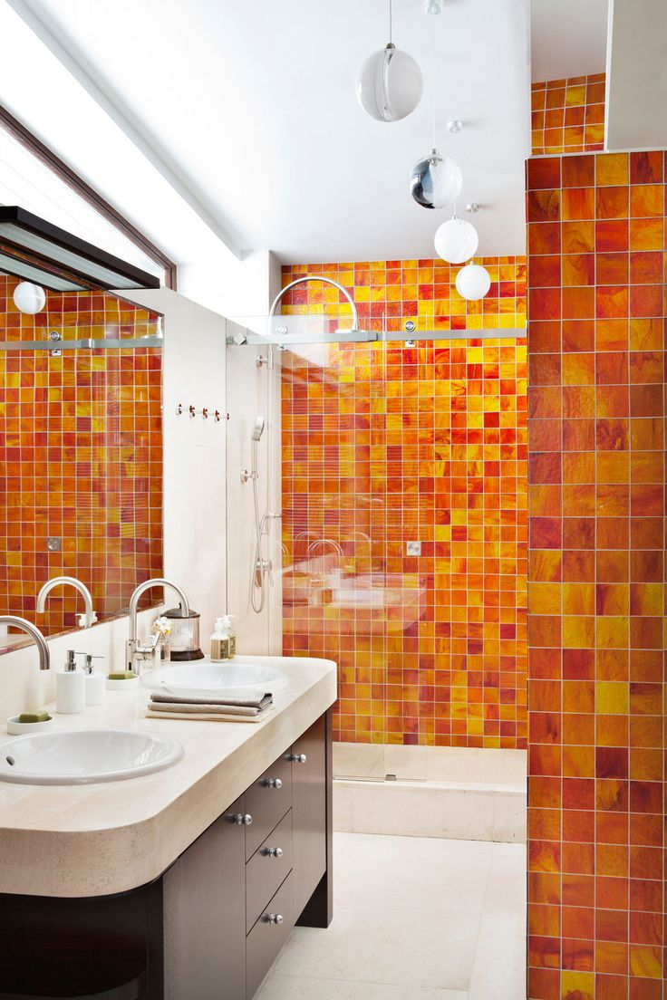 Classic Spanish Style Homes: Classic Spanish Style Homes With White Vanity And Orange Ceramic Tiles Walls Design