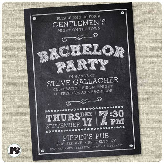 Personalized chalk Bachelor Party invitation card. Bachelor