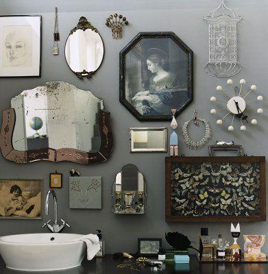 eclectic.: Bathroom Design, Wall Collage, Vintage Mirror, Wall Decor, Mirror Mirror, Grey Wall, Galleries Wall, Bathroom Wall, Mirrormirror