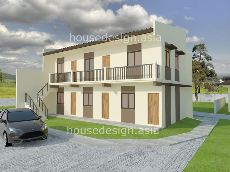 Two story apartment with 5 units house design for Two storey apartment design