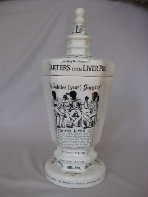 """A rare advertising lidded pot for """"Carters Little Liver Pills"""" Bearing the mark for the Star China Co.  Circa  1910  Height  16 3/4 """""""