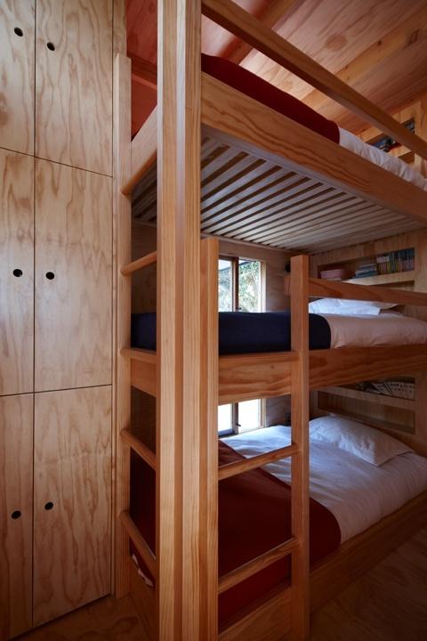 tripletiered bunk bed sleeps three Tiny beach house