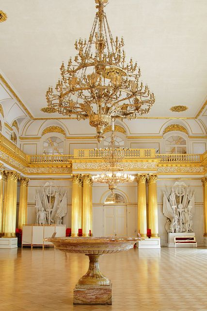 The Armorial Hall, Winter Palace, St Petersburg, Russia. The gold columns in this room are amazing!