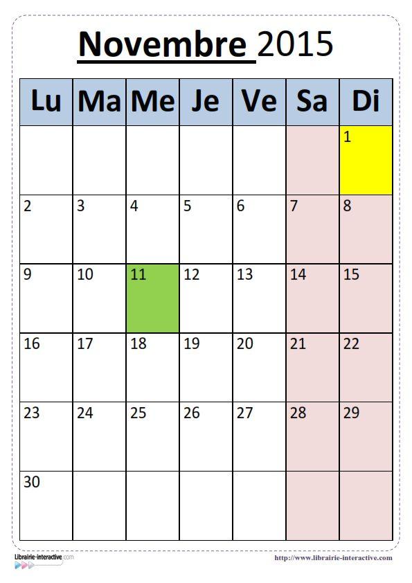 Plusieurs versions du calendrier scolaire 2015-2016 pour un affichage en classe.