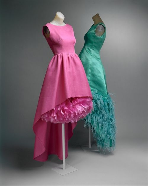 1960s Balenciaga and Givenchy dresses via The Costume Institute of the Metropolitan Museum of Art #1960s #feathers