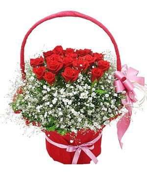 Protect Forever, 19 red roses in flowers basket - delivered in China - send flowers