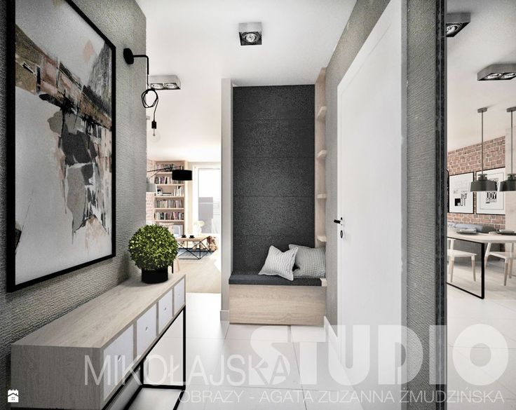 beton-drewno-cegła-korytarz - zdjęcie od MIKOŁAJSKAstudio - Hol / Przedpokój - Styl Industrialny - MIKOŁAJSKAstudio