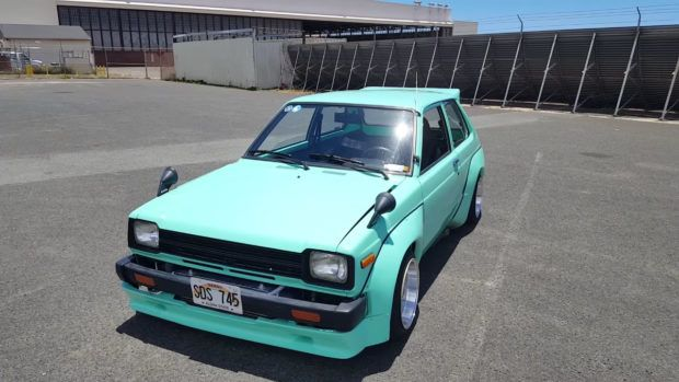 1982 Toyota Starlet with a 2.0 L SR20DET inline-four