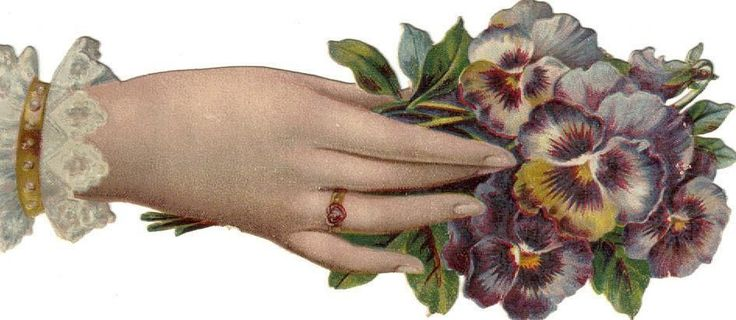 Larger Victorian Die Cut Scrap Lady s Hand w Pansies c1880s