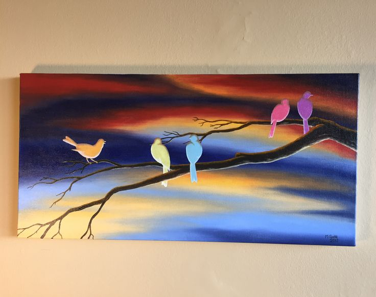 Oil painting featuring five surreal songbird silhouettes perched on a branch against a dramatic sky. Each bird is a different bright pop of colour.