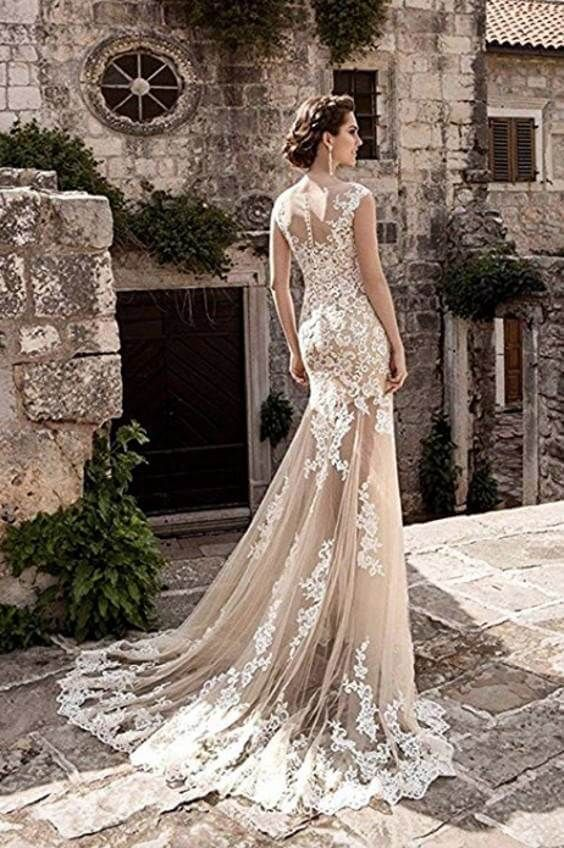 15 Detachable Train Wedding Dresses Under 200 Dollars For Brides Who Want A Removable Train Chiclypoised Sheer Wedding Dress Lace Mermaid Wedding Dress Wedding Dress Champagne