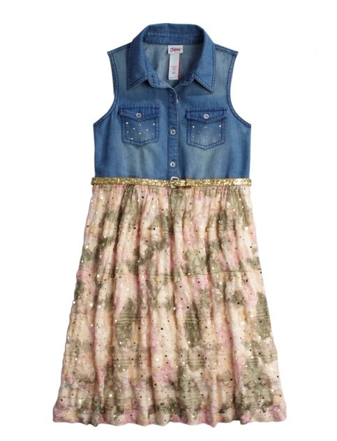 Denim And Lace Camo Belted Dress   Girls Dresses Clearance   Shop Justice #MayShow@FBAA