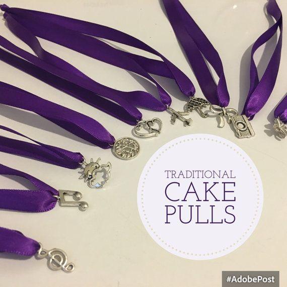 Cake Pulls traditional set 12 charms, ribbons, YOU choose ribbon color and length bridesmaids charm cake wedding bride bridesmaid game