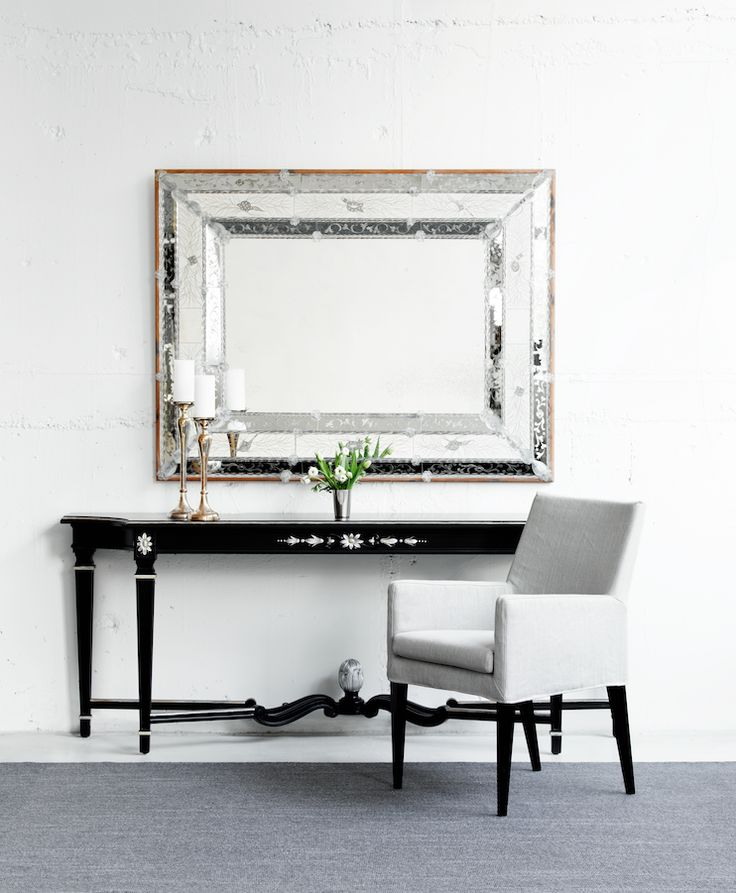 Art. 0450 Mirror Made in Italy by Arte Veneziana, Art.159 Console Made in Italy by Angelo Cappellini, Volo Armchair Made in Italy by Marac. Available at Sarsfield Brooke.