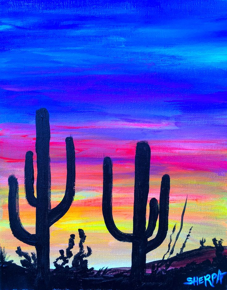 sunset in kingman az a fully guided suset paint along fully guided painting tutorial easy acrylic - Fun Pictures To Paint