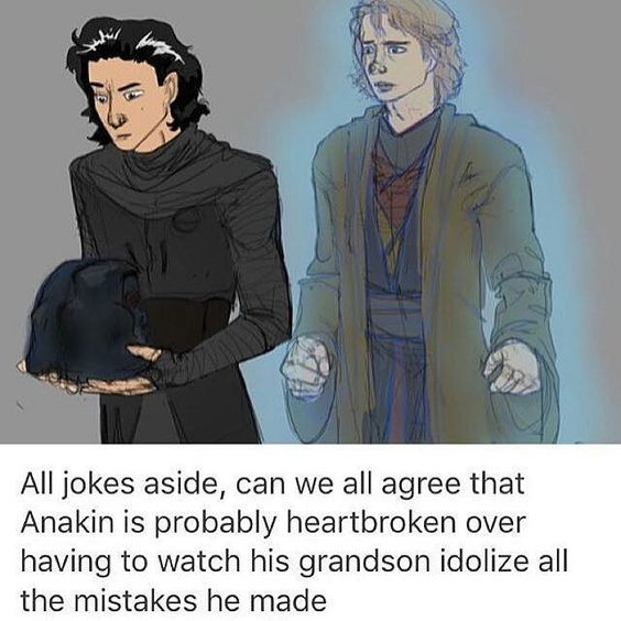 Totally. Makes me sad. Because Anakin is awesome. If only he hadn't allowed his fear of losing his wife to enslave him to the Dark Side. Love you Anakin. I'm sorry that you had to go through a lot of asteroid junk to return to the man you once were and now are again. :'(