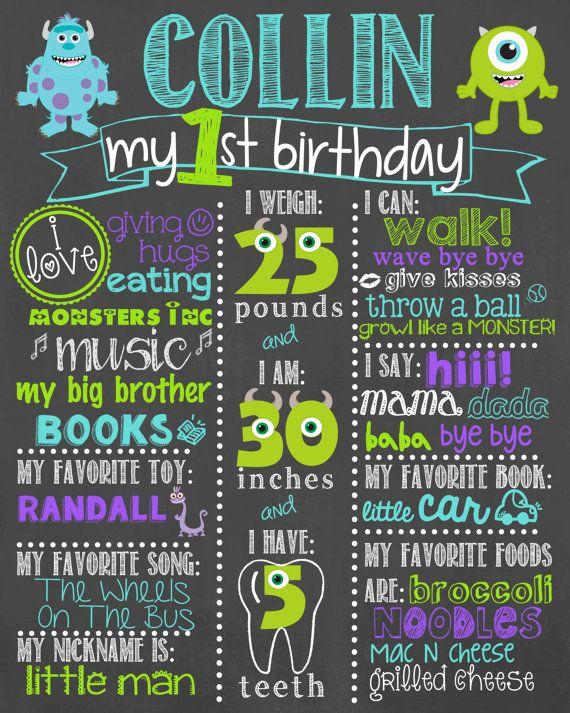 Monsters Inc cumpleaños pizarra / monstruos cumpleaños pizarra