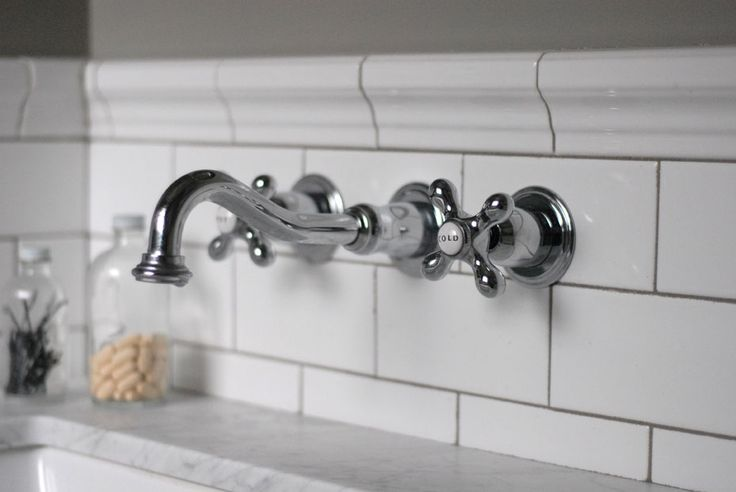 restored style master bathroom renovation -- wall-mounted faucet