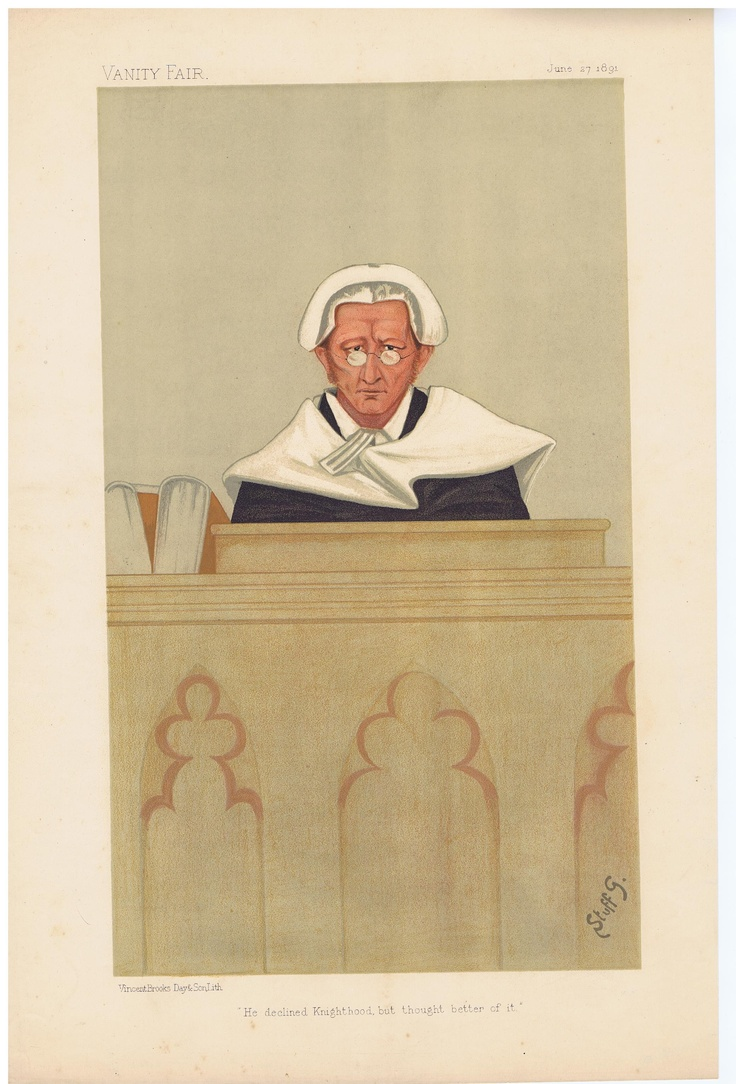Date: 27-Jun-1891 The Vanity Fair Caricature of Mr. Justice Wright With the caption of : He Declined Knighthood By the artist: STUFF Visit www.theakston-thomas.co.uk for many more Vanity Fair Prints, we have one of the largest collections in the world.