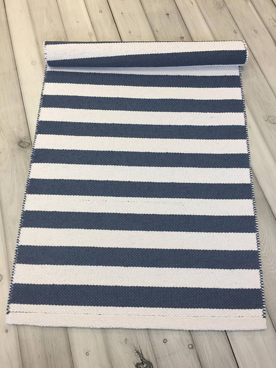 Scandinavian Rug Blue Runner Small Hand Woven Kitchen Swedish Cotton Rag Washable Floor Decor Nursery 2x5 Carpet Pinterest