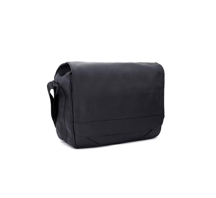 Miller - Montana Black Leather Messenger Bag with Padded Camera Insert 9L