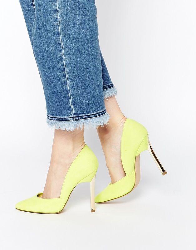 New Look - Vic - Escarpins a talons asymetriques - Vert citron shoping tenuedujour lookdujour mode femme ete achat fashion mignon jolie tendance ootd luxe chaussures talon escarpin