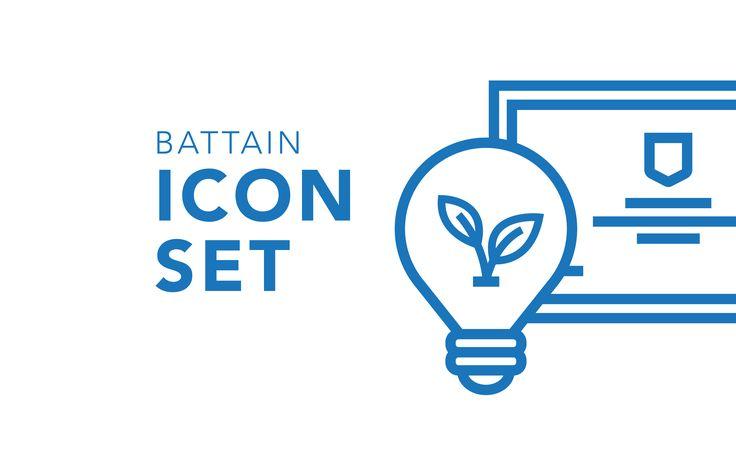 """Consultare la pagina di questo progetto @Behance: """"Battain - Icon Set"""" https://www.behance.net/gallery/45625461/Battain-Icon-Set"""