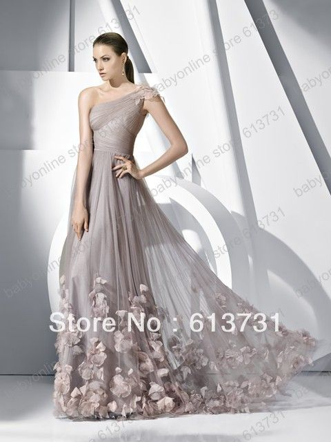 2013 ladies Formal Gown a line one shoulder appliques tulle prom evening dresses With Flowers Petals $159.00
