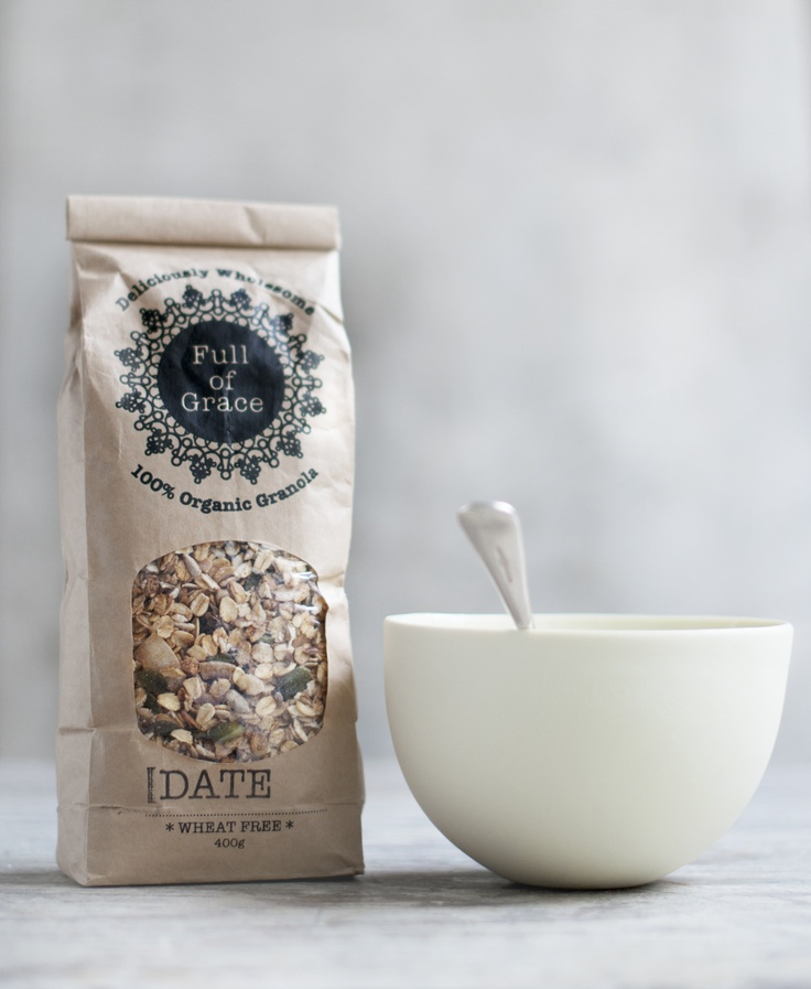 Full of Grace Arabic Date granola - packaging. Designed by Kate Hilgendorf at these nice things. Photo by Rochelle Seator